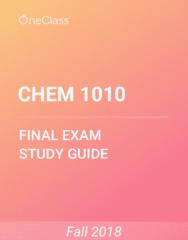 CHEM 1010 Study Guide - Comprehensive Final Exam Guide -