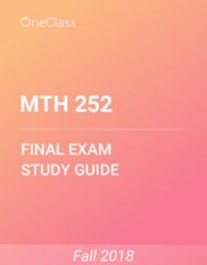 MTH 252 Study Guide - Comprehensive Final Exam Guide - Euclidean Vector, Trigonometric Functions, Thun