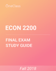 ECON 2200 Study Guide - Comprehensive Final Exam Guide - Deflation, Money Supply, Recession