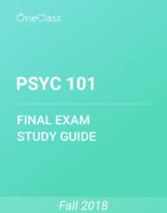 PSYC 101 Study Guide - Comprehensive Final Exam Guide - Amygdala, Schizophrenia, Memory