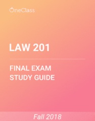 LAW 201 Study Guide - Comprehensive Final Exam Guide - Kaustinen, Canada, Common Law