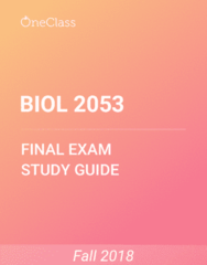 BIOL 2053 Study Guide - Comprehensive Final Exam Guide - Bacteria, Adenosine Triphosphate, Rna