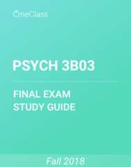 PSYCH 3B03 Study Guide - Comprehensive Final Exam Guide - Etiology, Psychopathology, Attention Deficit Hyperactivity Disorder