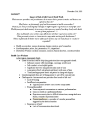 PSYC 208 Lecture Notes - Lecture 9: Death Care Industry In The United States, Safe Conduct, Countertransference