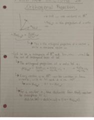 MATH 1104 Lecture 24: Orthogonal Projections