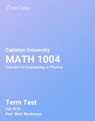 MATH 1004 Study Guide - Comprehensive Term Test Notes -