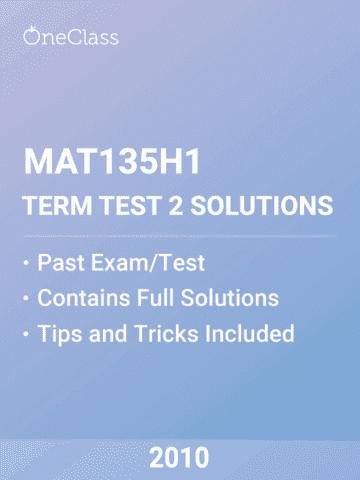 c810c8d7c073db MAT135H1 Midterm  UTSG - MAT135H1 Term Test 2 2010 Solutions