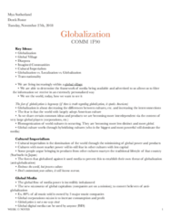 COMM 1F90 Lecture Notes - Lecture 13: Anti-Globalization Movement, Cultural Imperialism, Long Term Ecological Research Network