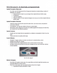 PHYS-P 150 Lecture Notes - Lecture 48: Dolby 3D, Augmented Reality, Stereopsis
