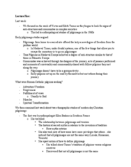 ANTB66H3 Lecture Notes - Lecture 5: Christian Pilgrimage, Entwine, Sanctification