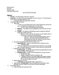 ECON 160 Study Guide - Final Guide: Invisible Hand, Opportunity Cost, Takers