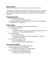 SOCIOL 1 Lecture Notes - Lecture 1: Sociological Perspectives, Social Reality