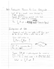 MTH 252 Lecture 30: Ch16.3 - Fundamental Theorem of Line Integrals