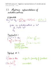 MAT136H1 Lecture 5: MAT136H1 Lecture 5:Algebraic Represenations of antiderivatives