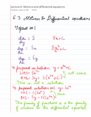 MAT136H1 Lecture 6: MAT136 Lecture 6 - Motion and diffential equations