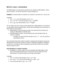 MATH 2B Lecture Notes - Lecture 1: Antiderivative, Mean Value Theorem