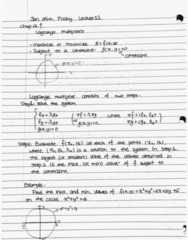 MATH 105 Lecture 11: Lagrange multipliers
