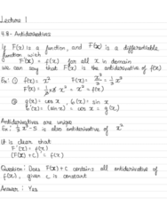 MAT 21B Lecture Notes - Lecture 1: Antiderivative, Integral Symbol, Foal
