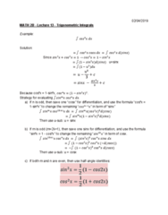 MATH 2B Lecture 13: Trigonometric Integrals