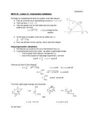 MATH 2B Lecture Notes - Lecture 14: Trigonometric Substitution