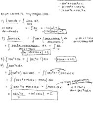 MATH 2B Lecture 15: Trig Integrals ctnd.