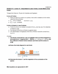 PHYSICS 3A Lecture Notes - Lecture 15: Friction