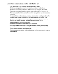 NURS1000 Lecture Notes - Lecture 4: Evidence-Based Practice