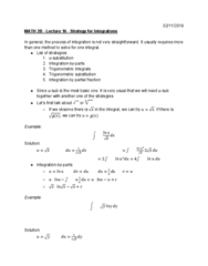 MATH 2B Lecture Notes - Lecture 16: Trigonometric Substitution, Partial Fraction Decomposition