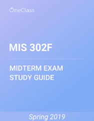 MIS 302F Study Guide - Spring 2019, Comprehensive Midterm Notes - Types Of Tennis Match, Zadar, Viral Marketing