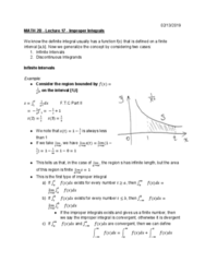 MATH 2B Lecture 17: Improper Integrals