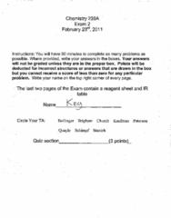 CHEM 238 Exam 2 Winter 2011